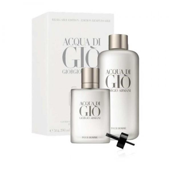 Armani Acqua di Gio Refill 200ml Edt + Refillable 50ml Edt Geschenkset