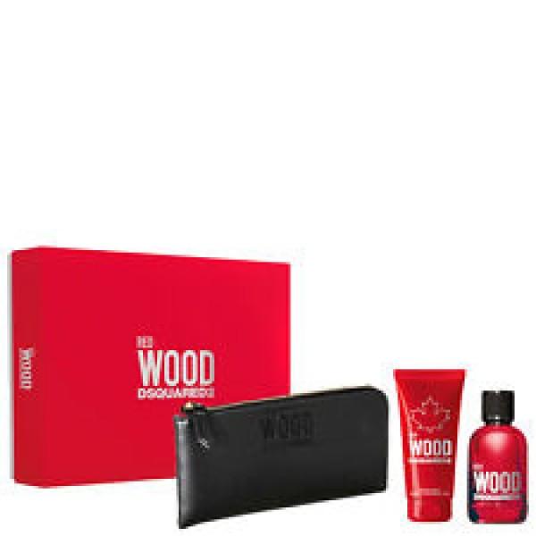 Dsquared2 Red Wood 100ml Edt + Showergel + Wallet Geschenkset